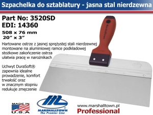 3520SD 508x76 20x3in jasna stal DuraSoft® Hdl