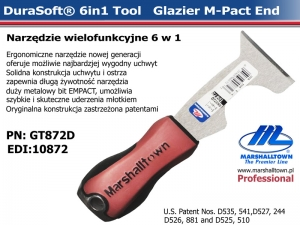 6in1 GT872D (10872) Glazier Tool-DS Hdl, M-Pact End, narzędzie uniwersalne