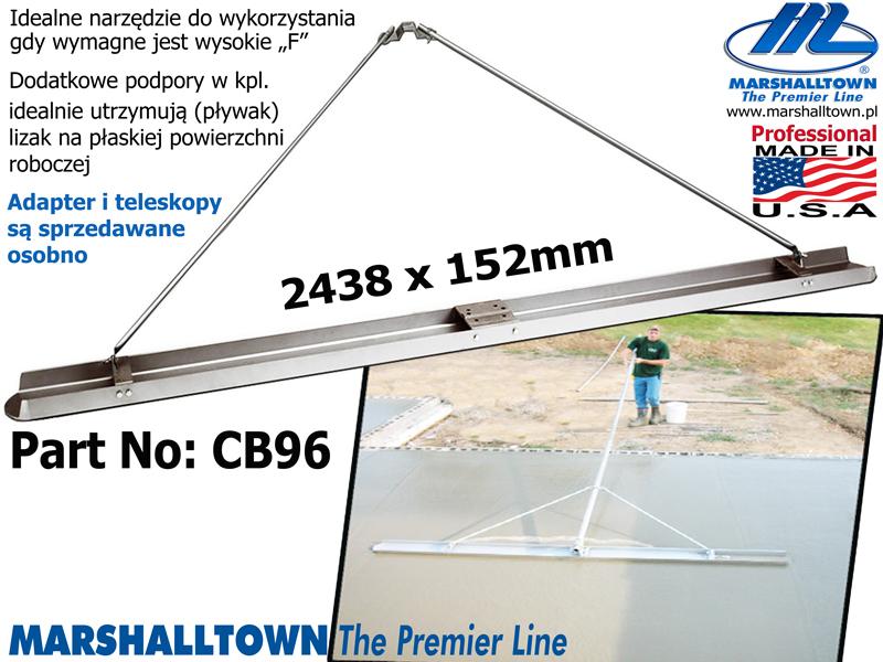 Ogromny 2438x152 łata magnezowa CB96 , dod. podpory w klpl. OE28