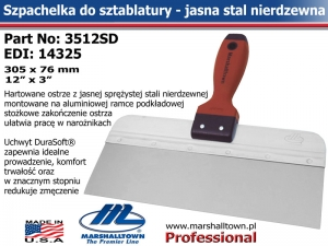 3512SD 305x76mm 12x3in jasna stal DuraSoft® Hdl