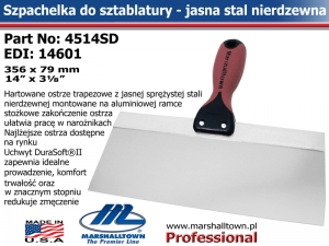 4514SD 356x79mm 14x3⅛in jasna stal, DuraSoft® Hdl
